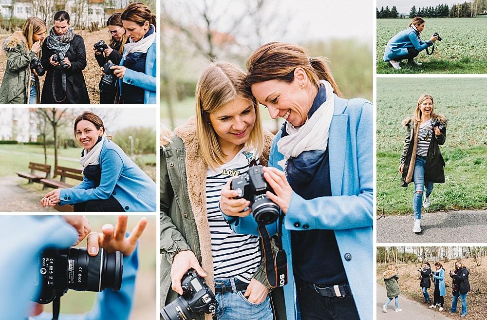 Workshopbesucher beim Fotografieren outdoor